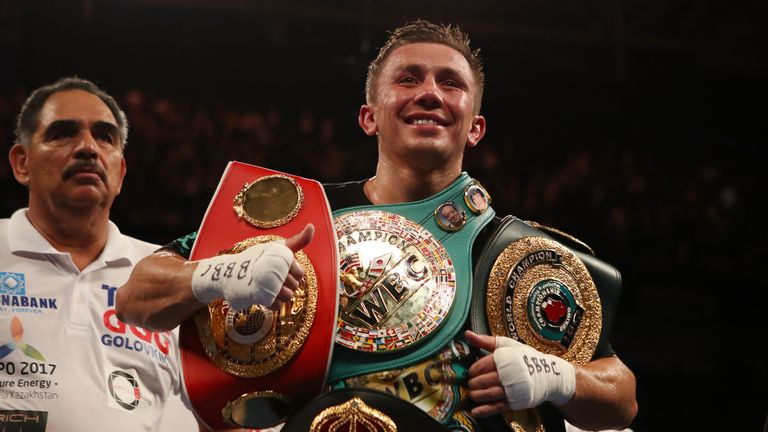 Gennady Golovkin celebrates victory over Kell Brook at The O2