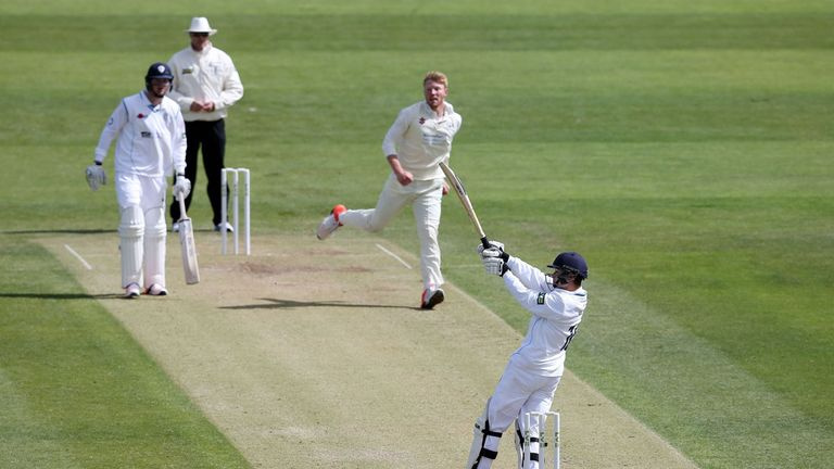 Harvey Hosein held Derbyshire's innings together at New Road but they were forced to follow on