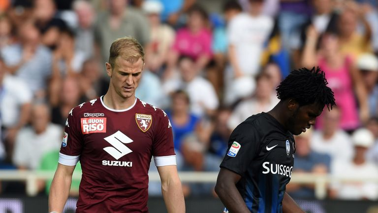 Joe Hart (L) failed to keep out Franck Kessie's (R) penalty as he suffered defeat on his Torino debut