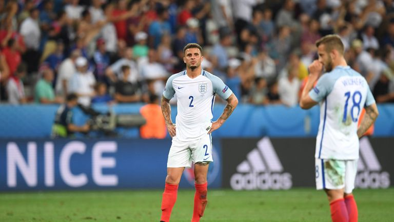 Walker looks on after England's defeat Iceland at Euro 2016