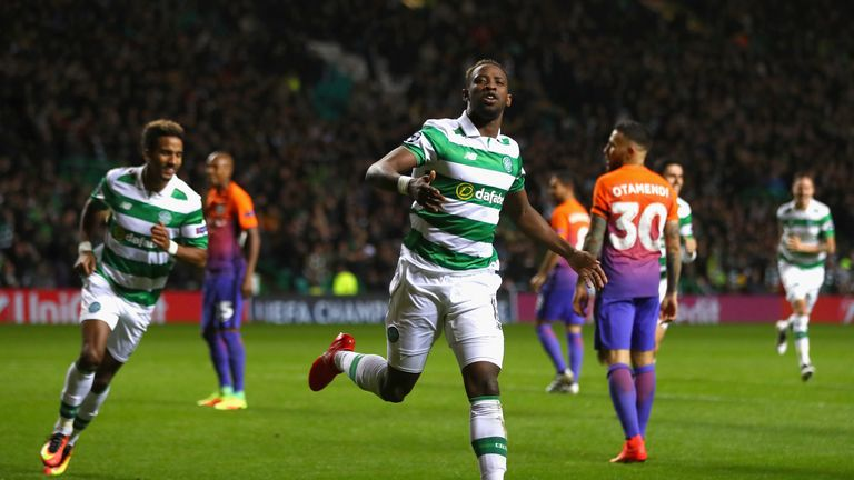 Moussa Dembele celebrates scoring Celtic's third goal against Man City