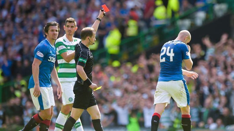 Philippe Senderos was shown a red card for Rangers in Celtic's 5-1 win earlier this season