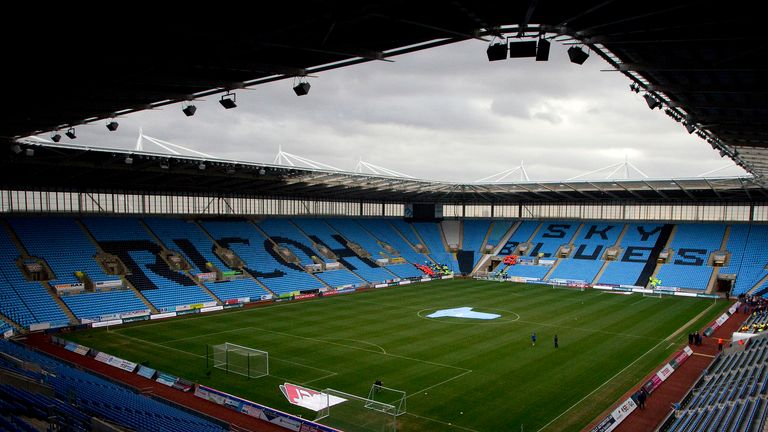 The supporter came onto the pitch at the Ricoh Arena during Coventry's defeat to Forest Green