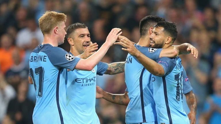 Aguero hat-trick helps Man City trounce Moenchengladbach