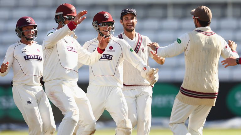 Somerset celebrate as they run through Nottinghamshire's second innings