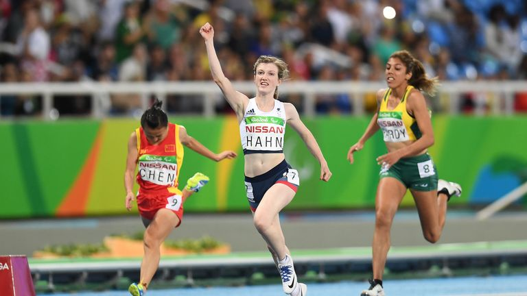 Sophie Hahn celebrates after winning the women's 100m T38