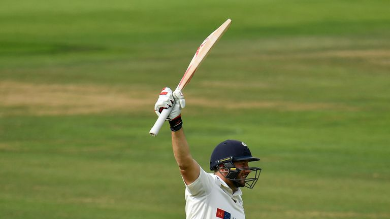 Tim Bresnan celebrates reaching a hundred at Lord's