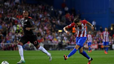 Yannick Carrasco of Atletico Madrid scores the only goal of the game against Bayern Munich
