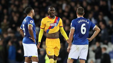 Christian Benteke argues with Phil Jagielka at the full-time whistle
