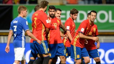 Spain forward Diego Costa celebrates during their 8-0 win