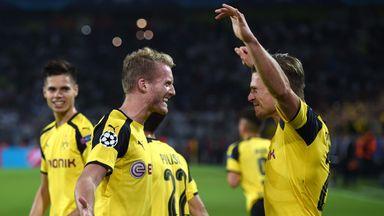 Dortmund Andre Schurrle ( L) celebrates after scoring the equaliser