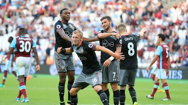 James Ward-Prowse celebrates Southampton's third goal at West Ham with his team-mates