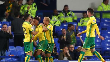 Josh Murphy (2nd L) scored his third goal of the season in a 3-1 win for Norwich over Burton Albion