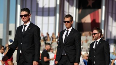 Europe's Justin Rose and Henrik Stenson walk out during the opening ceremony for the 41st Ryder Cup