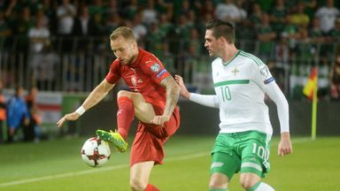 Michal Kadlec of Czech Republic (L) and Kyle Lafferty of Northern Ireland vie for the ball