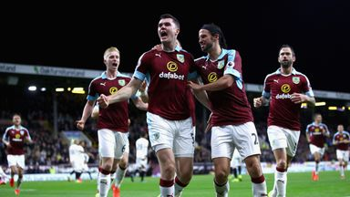 Michael Keane celebrates scoring Burnley's second goal against Watford