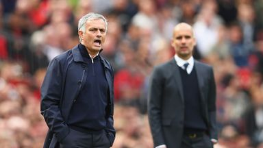 Manchester United boss Jose Mourinho (left) will again face Pep Guardiola
