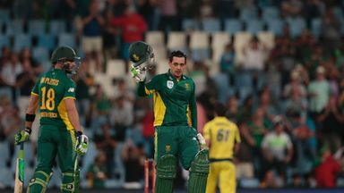South Africa's Quinton de Kock acknowledges the crowd as he brings up his hundred