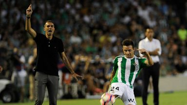 Real Betis forward Ruben Castro came close to scoring in the first half, only to hit Valencia's bar