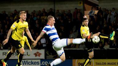 Sebastian Polter scores QPR's equaliser at Burton