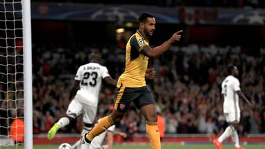 Arsenal's Theo Walcott celebrates scoring his side's first goal against Basel