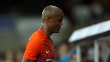 Vincent Kompany limps off towards the end of Wednesday's EFL tie