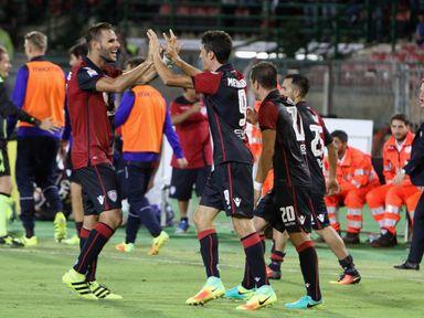 Federico Mechiorri of Cagliari celebrates his goal with team-mates