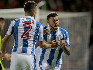 Huddersfield Town's Nahki Wells (right) celebrates after scoring