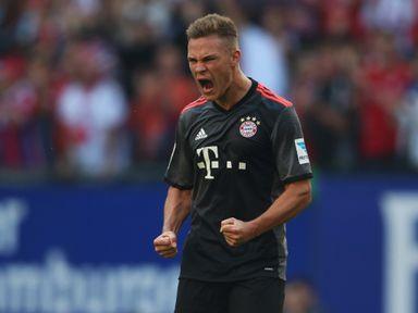 Joshua Kimmich celebrates his goal for Bayern Munich