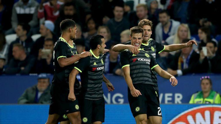 Cesar Azpiliceuta goal celeb, Leicester v Chelsea, EFL Cup