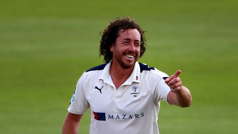 SOUTHAMPTON, ENGLAND - SEPTEMBER 01: Ryan Sidebottom of Yorkshire celebrates after taking the wicket of Hampshire's Tom Alsop durig day two of the Specsave