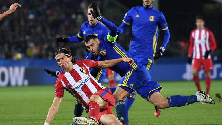 Filipe Luis takes a tumble in Atletico's victory