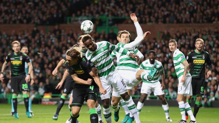 Moussa Dembele wins a header for Celtic