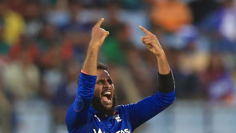 Rashid celebrates another wicket for England in the third and final ODI against Bangladesh
