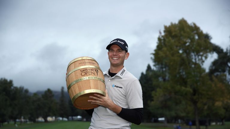 Brendan Steele poses with the unusual trophy after winning the Safeway Open