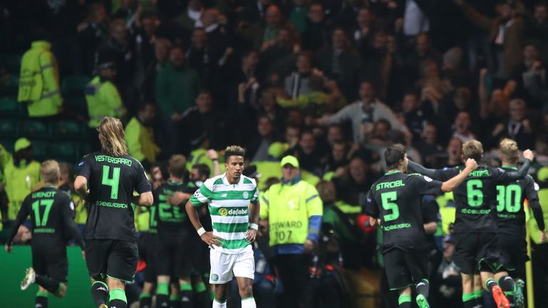 Scott Sinclair looks dejected after Celtic conceded against Borussia Monchengladbach