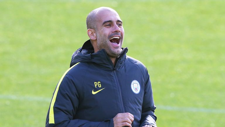 Pep Guardiola runs a training session prior to Manchester City's game with Barcelona