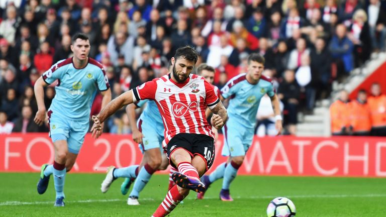 Charlie Austin scores Southampton's third goal from the penalty spot against Burnley