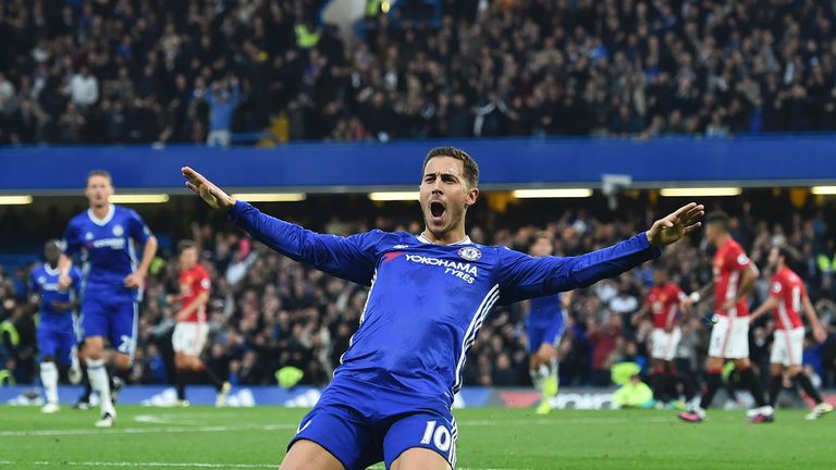 Eden Hazard celebrates after scoring Chelsea's third goal