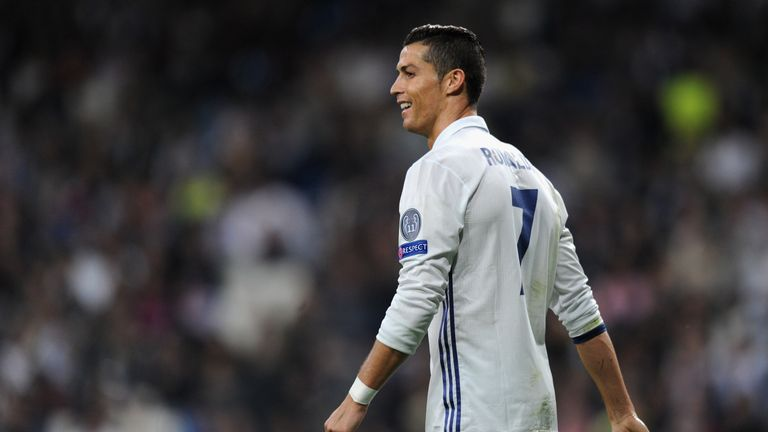 Cristiano Ronaldo looks on during the Champions League Group F match against Legia Warsaw