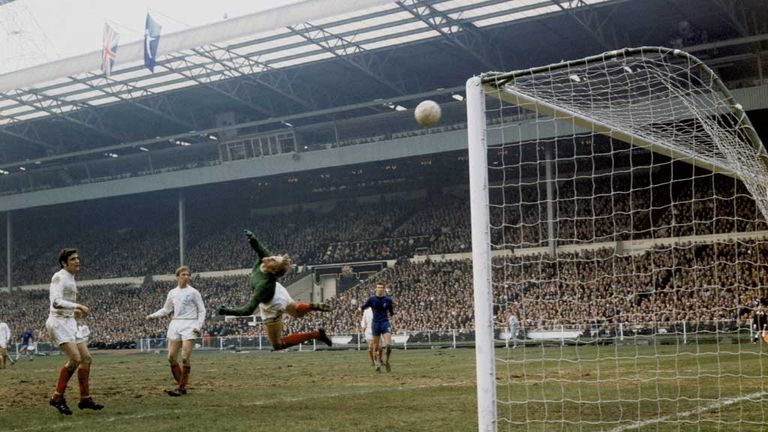 Sprake in action for Leeds during the 1970 FA Cup final against Chelsea