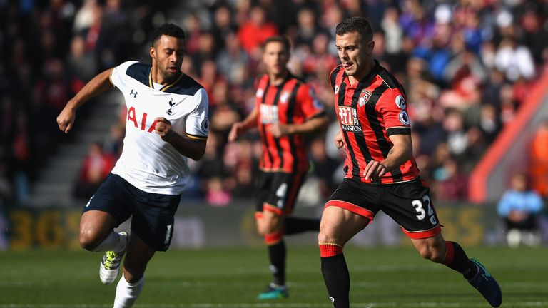 Jack Wilshere (right) challenges Tottenham's Mousa Dembele for the ball