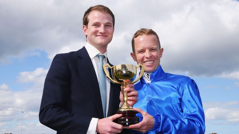 Assistrant trainer James Ferguson and Kerrin McEvoy with the Geelong Cup