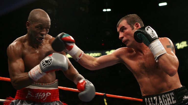 Joe Calzaghe climbed off the canvas in the first round to secure a split decision over Hopkins in 2008