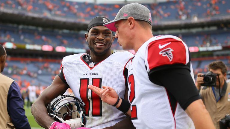 Wide receiver Julio Jones #11 and quarterback Matt Ryan have led the Falcons to 7-4 this season