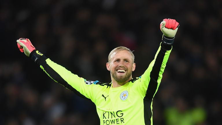 Leicester City 'keeper Kasper Schmeichel celebrates his team's win against FC Copenhagen