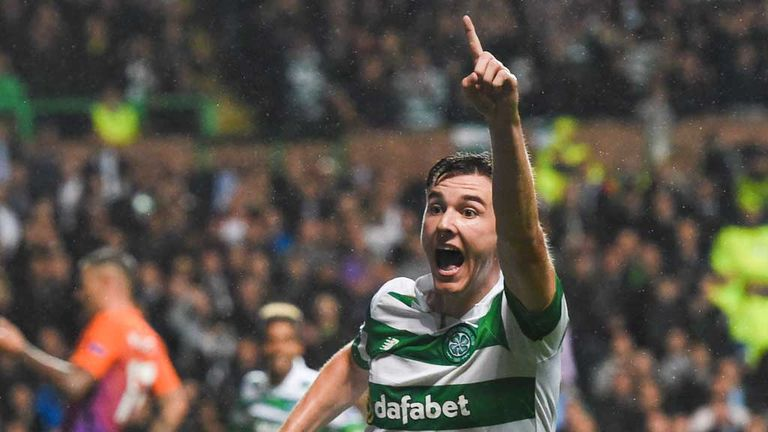 Tierney celebrates his goal in the 3-3 Champions League draw with Man City