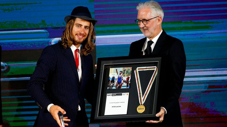 Peter Sagan and UCI president Brian Cookson at the UCI Cycling Gala