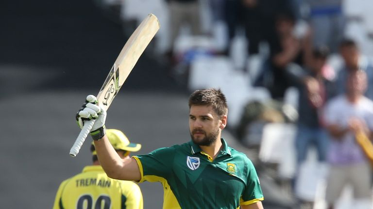 Rilee Rossouw celebrates reaching a century at Cape Town
