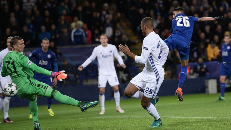 Riyad Mahrez shoots past Copenhagen goalkeeper Robin Olsen to score the only goal of the game